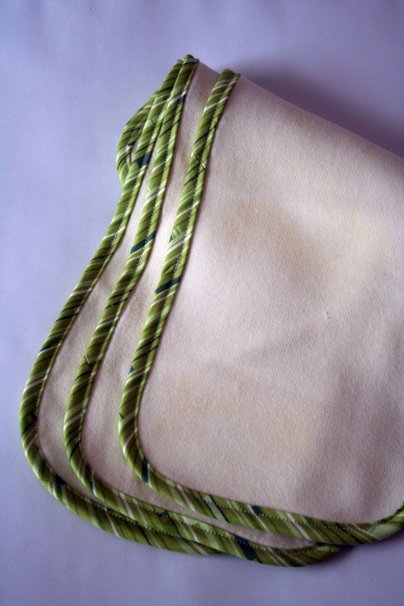 Burp Cloth Green Trim