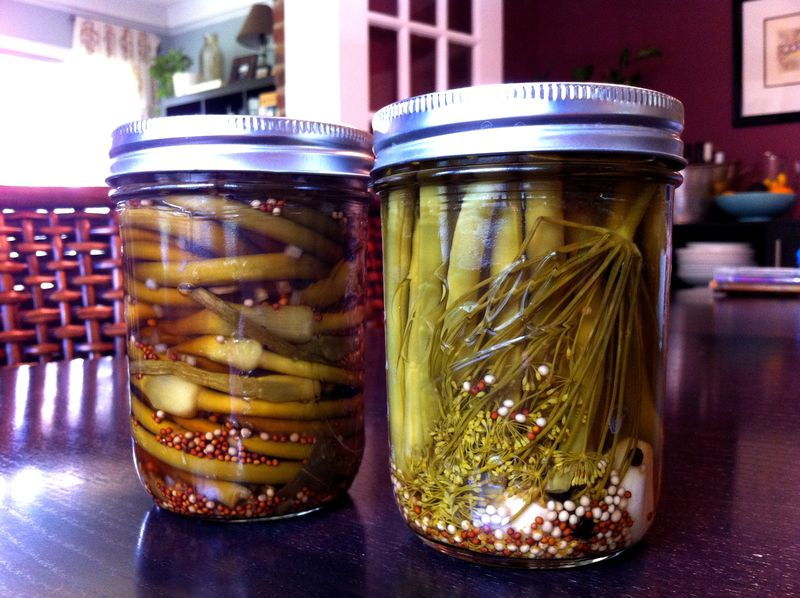 Pickled beans and scapes
